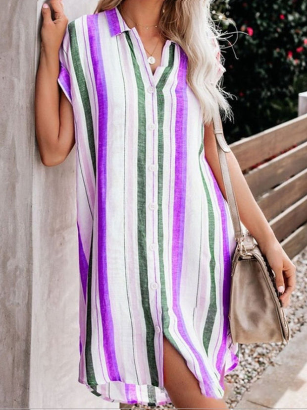 Stripes Short Sleeve Above Knee Shirt Mini Dresses