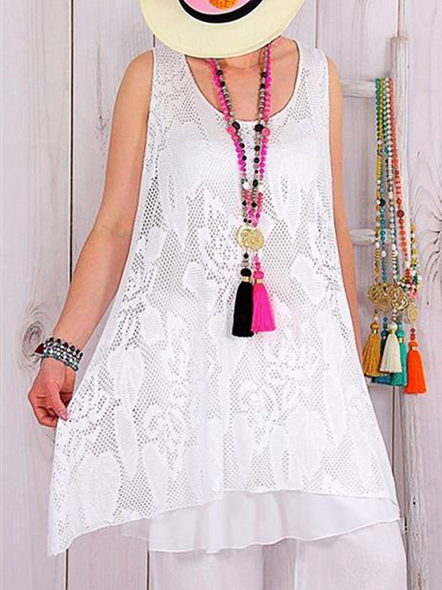 Summer Lace Casual Sleeveless Dress Loose Dress
