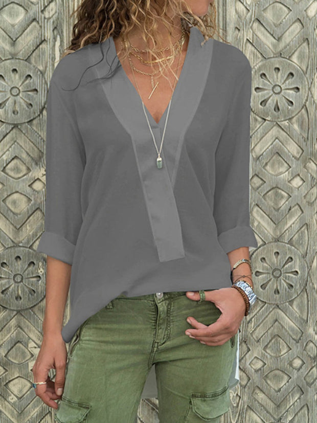 V Neck Fashion  Chiffon Pure Colour Long Sleeve Shirt
