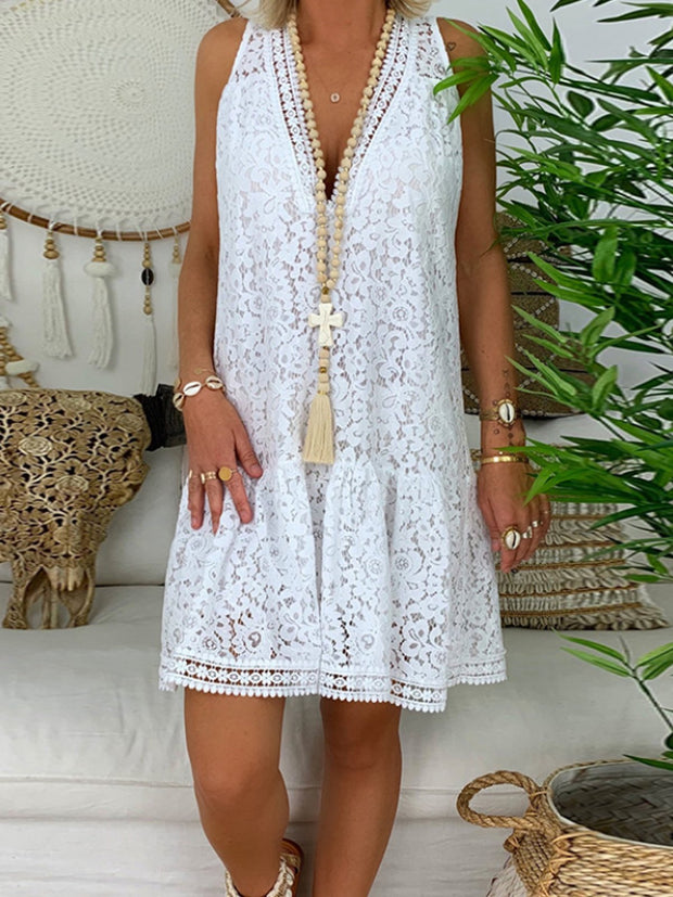 Lace V Neck Sleeveless Loose Short Dresses