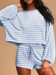 Casual Loose Striped Round Neck Two-piece Suit