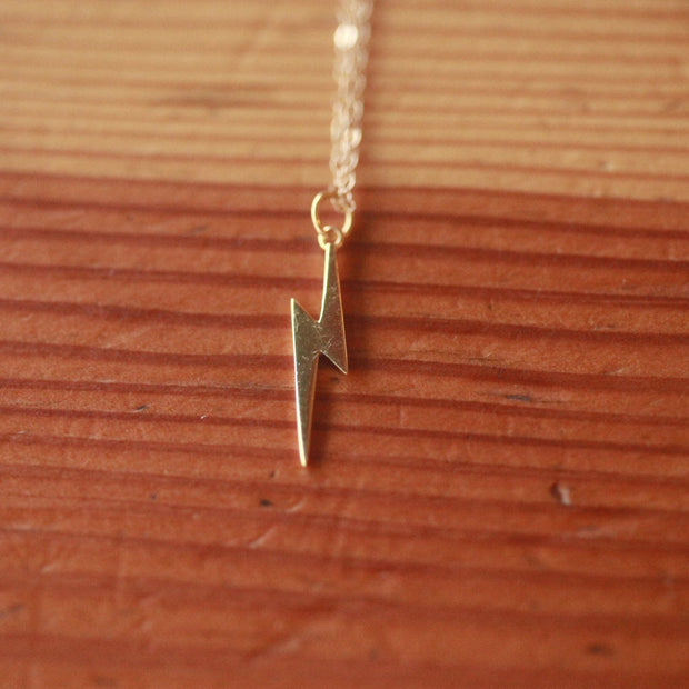 Long silver lightning bolt necklace, elegant lightning necklace