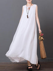 White Printed Chiffon Sleeveless Long Dress