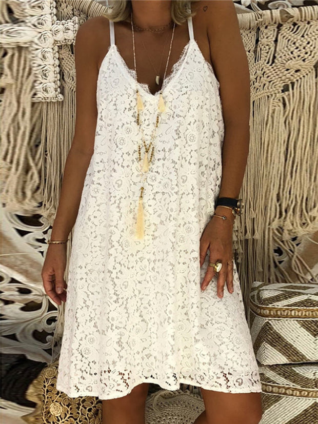 Summer V Neck Lace Sleeveless Dress