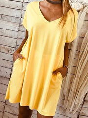 V-Neck  Casual Plain Short Sleeve Pockets Dress