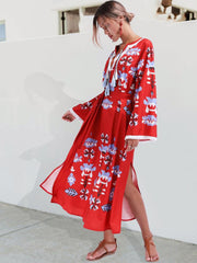 Red Floral Bohemia Folk Style  Long Sleeve Dress