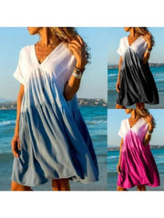 Summer Color-block Short Sleeves A-line Knee Length Casual/Vacation Dresses