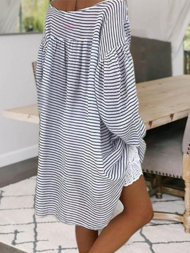 Striped Loose And Comfortable Strapless T-Shirt
