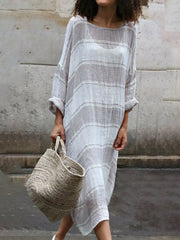 Stripe Soft Long Sleeve  Maxi Dress