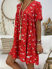 V-Neck Large Size Printed Casual Dress