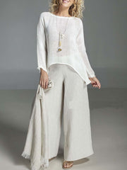 Round Neck Long Sleeve Loose Cotton and Linen Suit