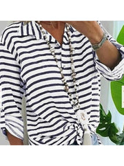 Leisure Lapel Striped Top