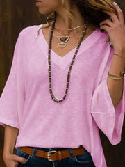 Women V Neck Flare Sleeve 3/4 Sleeve Knit Solid T-Shirt
