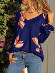 Printed V Neck Long Sleeves Casual Blouses
