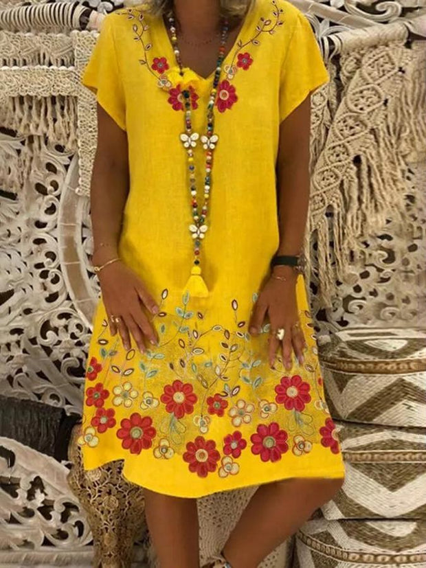 Yellow Floral Holiday Dresses