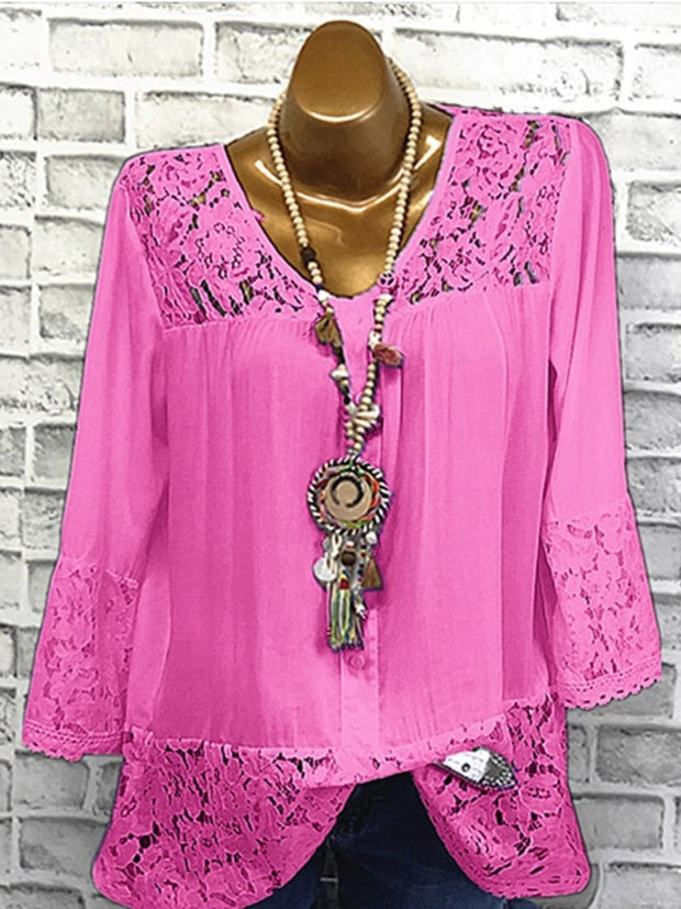 Fashion Lace Crew Neck 3/4 Sleeve Casual Blouses
