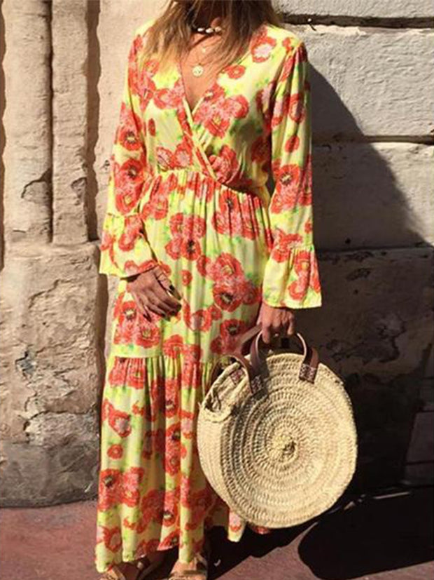 Floral Printed Long Sleeve Ankle-Length Standard-Waist Dresses