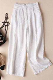 Loose Linen Pockets Solid Pants - Regocy