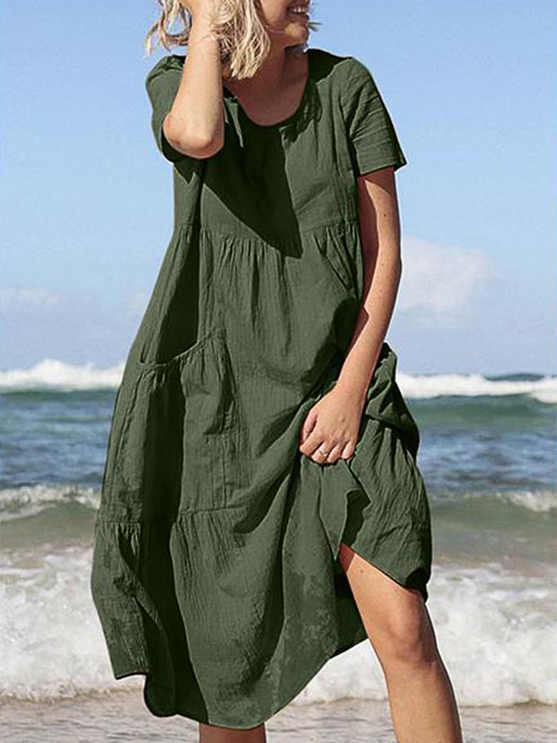Summer Women Short Sleeve Solid Loose Casual Dress