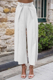 High Waist Solid Casual Linen Pants