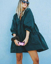Black  V-Neck Tiered Loose Mini Dress