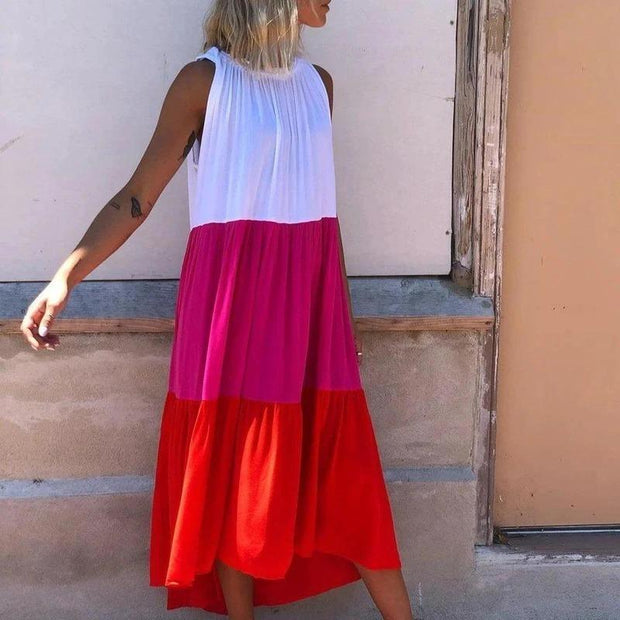 Boho Color Block Sleeveless Midi Dress