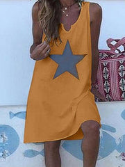 Summer Daily Sleeveless Star Round Neck Dress
