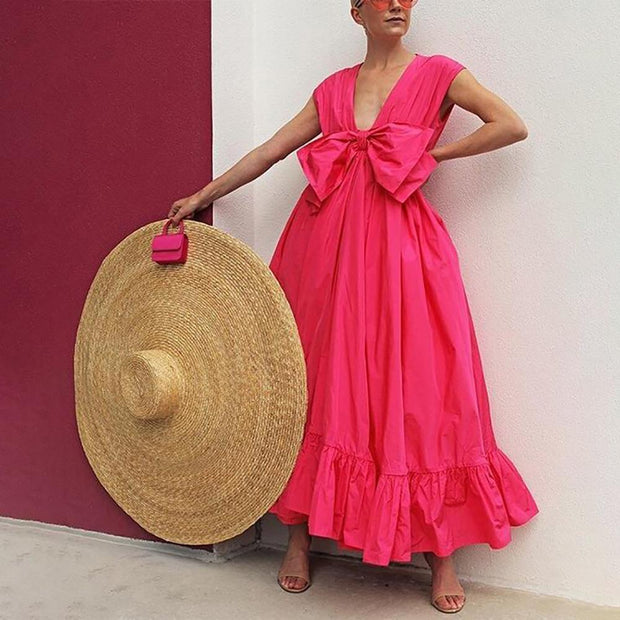Vacation V Neck Solid Bowknot Maxi Dresses