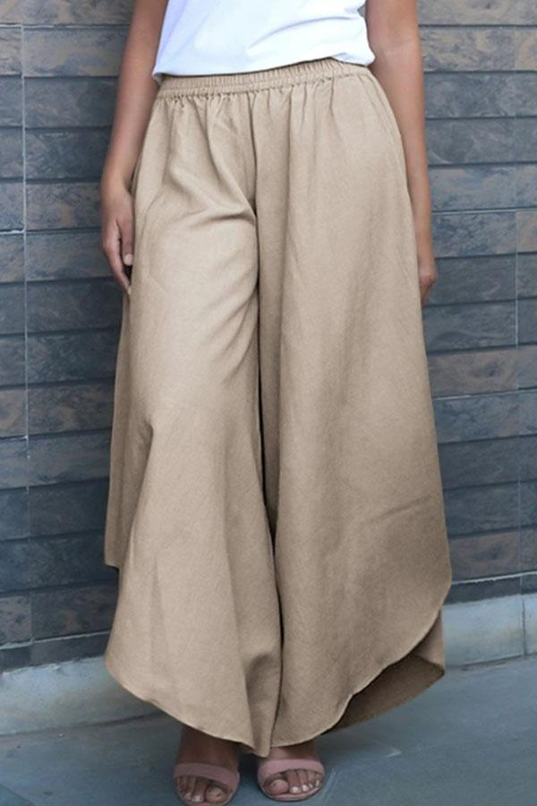 Solid Elastic Irregular Hem Casual Wide Leg Pants