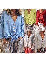 Buttoned Women V Neck Long Sleeve Solid Blouses