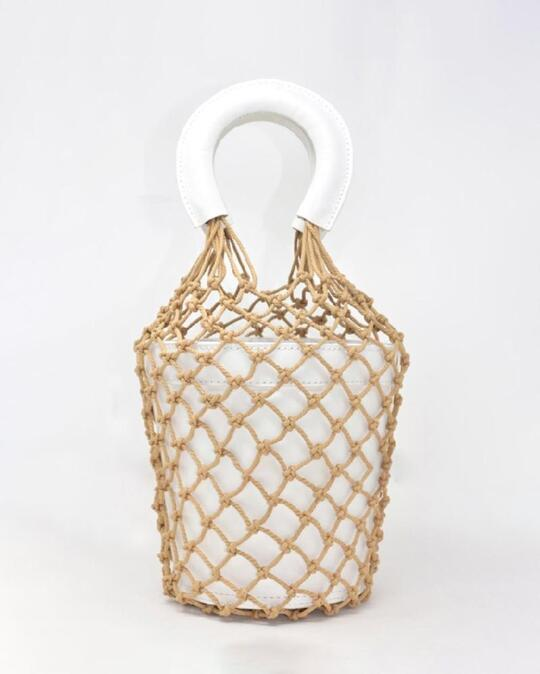 Woven Rope Fishing Mesh Bucket Crossbody  Bag