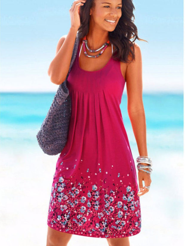 Summer Print Floral Sleeveless Dress Ladies Casual New Slim Sexy