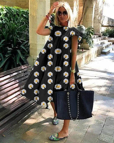 Trendy Daisy Print Short Sleeve Midi Dress