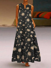 Summer Bohemian Printed V-Neck Maxi Long Dress