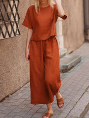 Casual Loose Solid Color Shirt Trousers Two-piece Suit