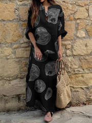 Maxi Long Dress Women Print Party Dress Bohemian Sundress Summer Autumn Long Sleeve Robe
