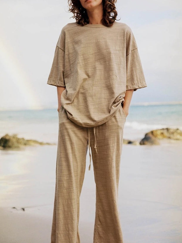 Simple Casual Round Neck Top Pants Suit