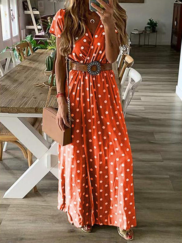V Neck Casual  Polka Dots Maxi Dresses