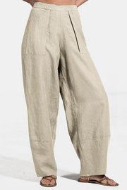 Paneled Solid Side Pockets Casual Harem Pants