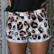 Women's Leopard Print Shredded Shorts