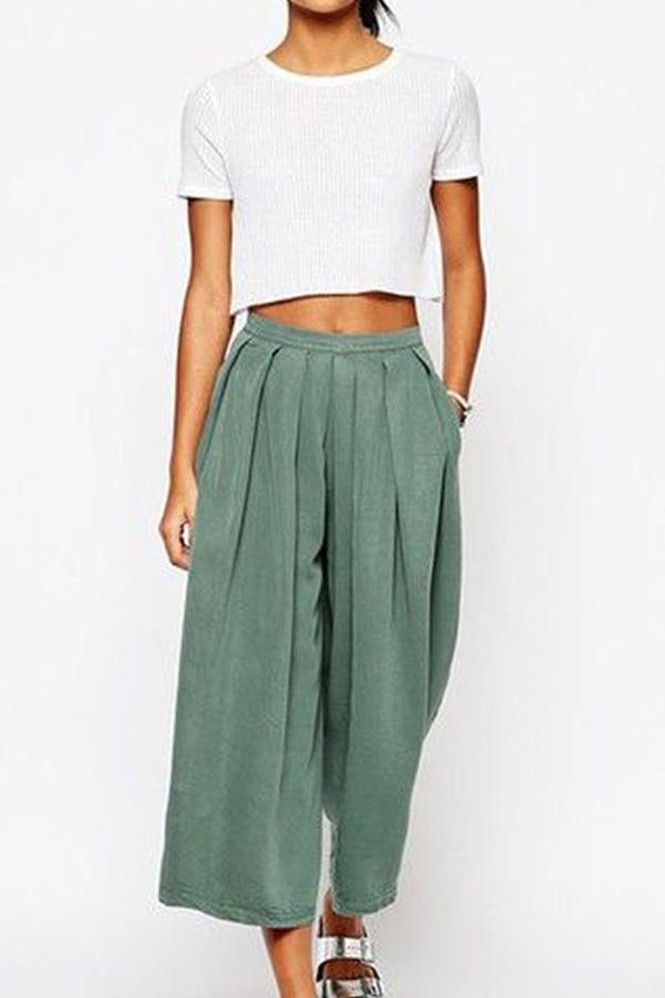 Wide Leg Ruffle Casual Linen Pants