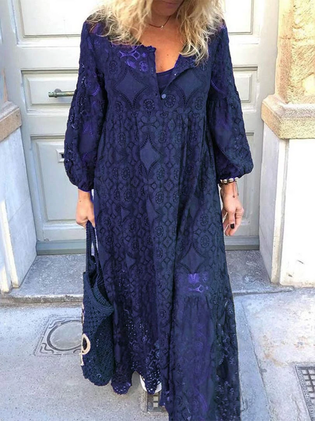 Loose Style Lace Stitching Hollow Long sleeve Maxi Dress