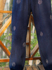 Blue Vintage Cotton-Blend Plain Pants