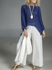 Round Neck Cotton and Linen Long Sleeve Irregular Suit