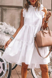 Temperament Round Neck Sleeveless Fitted Vacation Dress