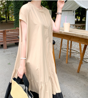 Casual Solid Short Sleeve Woman Maxi Dresses