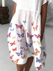 Butterfly Printed Doll Collar Short Sleeve Casual Pockets Dresses