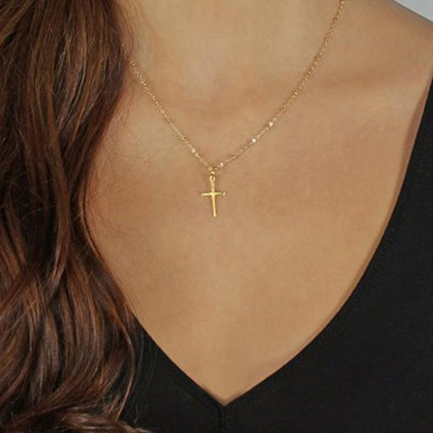 Fashion Summer Gold Chain Cross Small Gold Cross Religious Necklace