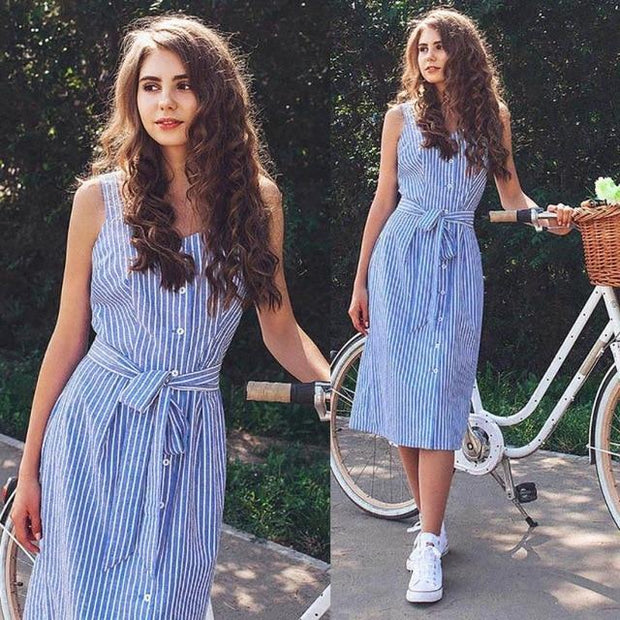 Blue Striped Sleeveless Sexy Summer Bandage Single-Breasted dress