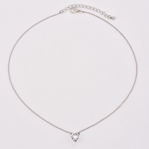Fashion Crystal Heart Necklace Pendant Short Gold Chain Necklace